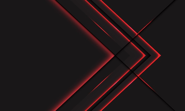 Abstrakte rote lichtlinie neonpfeil metallische richtung auf dunkelgrau mit modernem futuristischem technologiehintergrund des leerraumdesigns