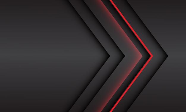 Abstrakte rote lichtpfeilrichtung auf schwarzem metallischem schatten mit modernem futuristischem hintergrund des leerraumdesigns