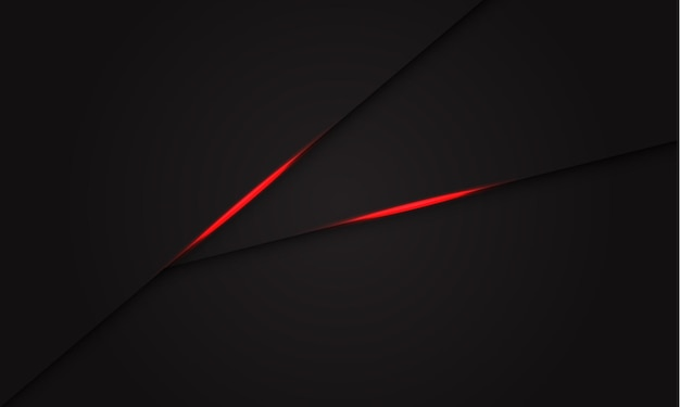 Abstrakte rote lichtschattenlinie auf modernem futuristischem hintergrund des dunkelgrauen entwurfs.