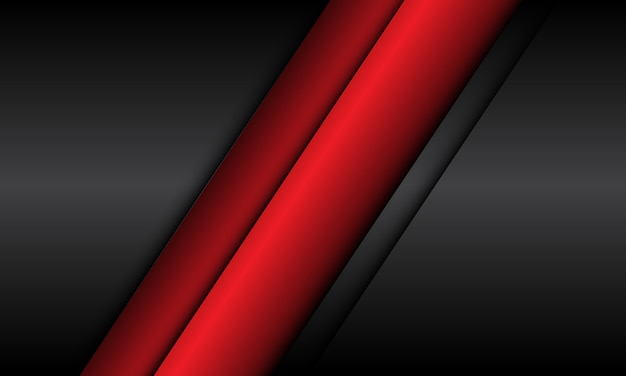 Abstrakte rote linie auf modernem futuristischem hintergrund des grauen metallischen entwurfs.