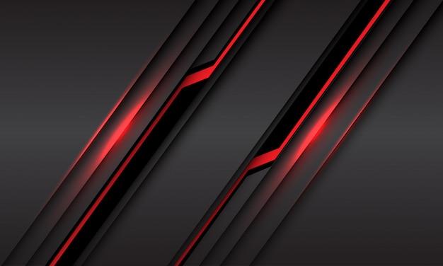 Abstrakte rote linie hellschwarzer cyber-schrägstrich auf grauem metallischem futuristischem technologiehintergrund.