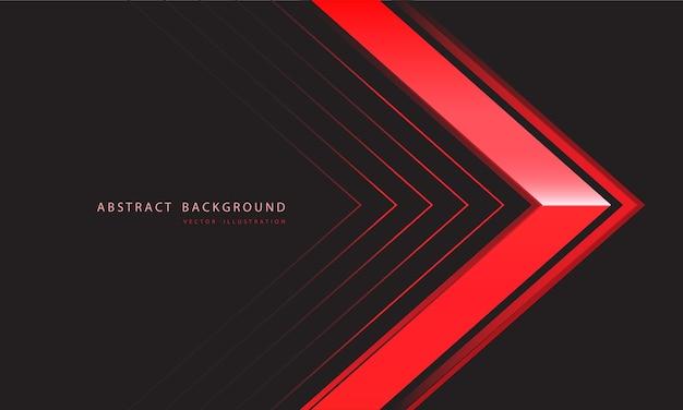 Abstrakte rote metallische pfeilrichtung auf dunkelgrauem hintergrund
