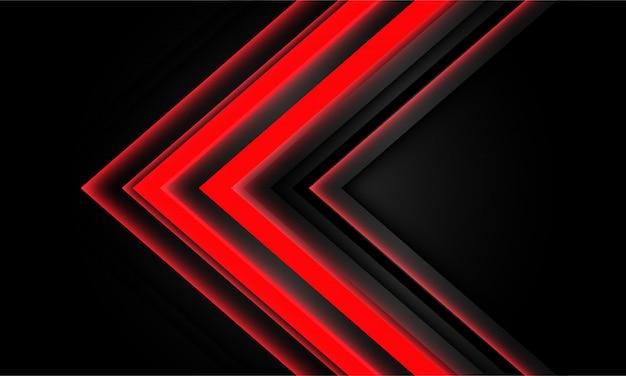 Abstrakte rote neonpfeillichtrichtung auf schwarzem hintergrund.