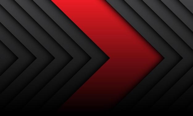 Abstrakte rote pfeilrichtung auf dunkelgrauem muster im modernen futuristischen schattenentwurf.