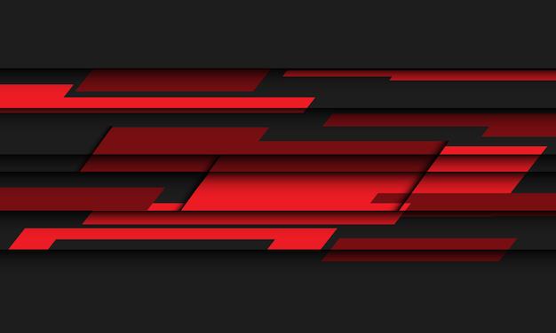 Abstrakte rote polygongeschwindigkeit auf futuristischem hintergrund der schwarzen designtechnologie.