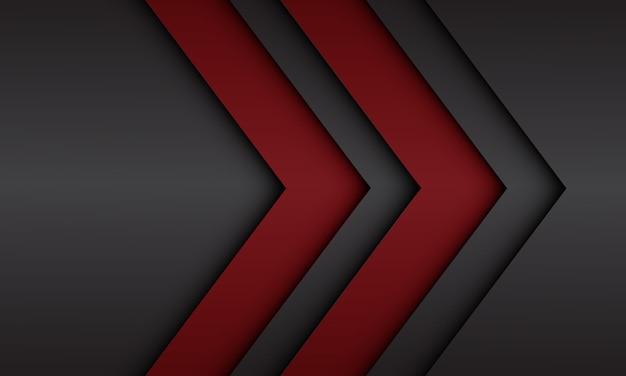 Abstrakte rote schwarze metallische pfeilrichtung mit modernem futuristischem hintergrund des leerraumdesigns
