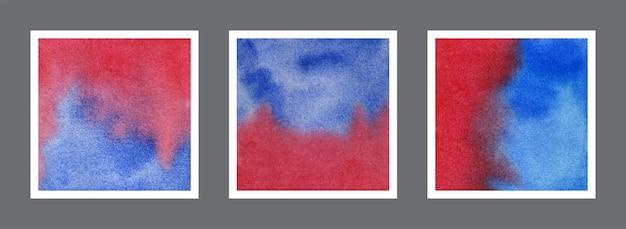 Abstrakte rote und blaue aquarellhintergrundsammlung