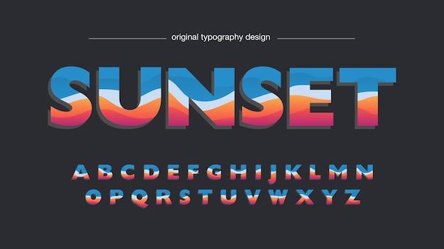 Abstrakte rote und blaue wellen-großbuchstaben-typografie