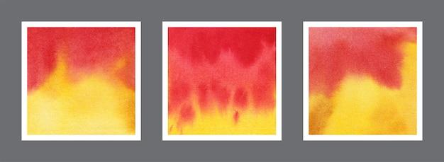 Abstrakte rote und gelbe aquarellhintergrundsammlung