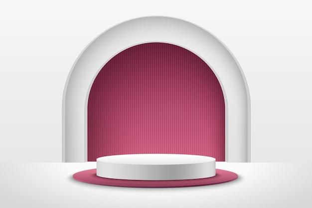Abstrakte rote und weiße runde anzeige für produkt. geometrische form der luxus-3d-wiedergabe.