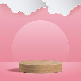 Abstrakte runde anzeige für produkt. minimale szene mit geometrischen formen. zylinder holz podium