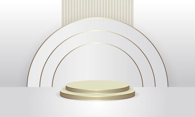 Abstrakte runde anzeigeszene für goldenes produktpodest des produkts luxus