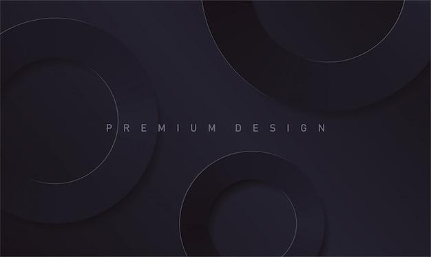 Abstrakte runde ringe des premiumpapiers auf schwarzem hintergrund