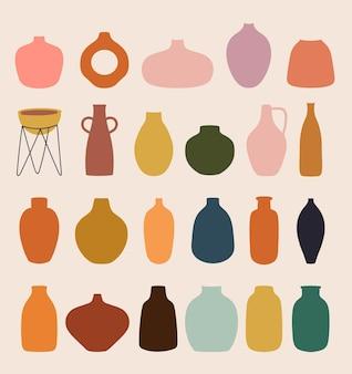 Abstrakte sammlung mit verschiedenen vasen