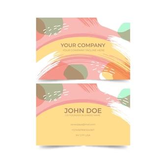 Abstrakte schablonenvisitenkarte mit pastell-farbigem flecksatz