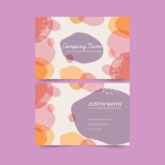 Abstrakte schablonenvisitenkarte mit pastell-farbiger fleckansammlung