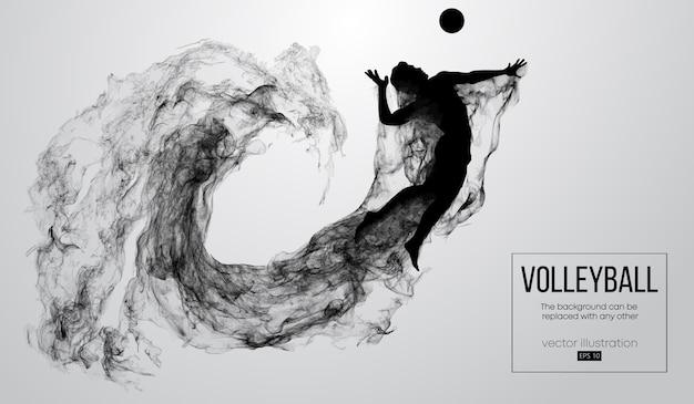 Abstrakte schattenbild einer volleyballspieler-mannillustration