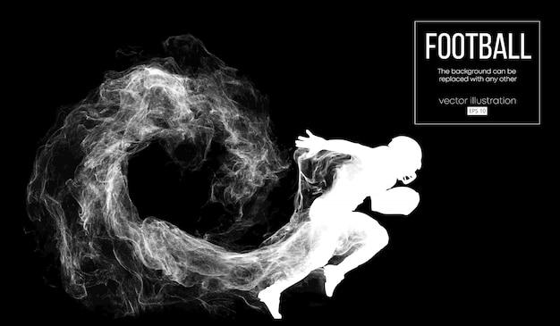 Abstrakte schattenbild eines amerikanischen fußballspielers auf dunklem schwarzem hintergrund von partikeln, staub, rauch, dampf. fußballspieler läuft mit ball. rugby.