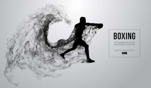 Abstrakte schattenbild eines boxers auf dem weißen hintergrund