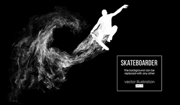 Abstrakte schattenbild eines skateboarders auf dem dunklen schwarzen hintergrund von partikeln