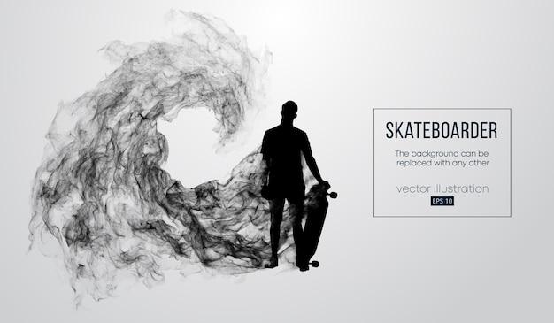 Abstrakte schattenbild eines skateboarders auf dem weißen hintergrund