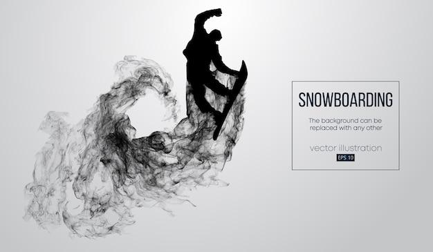 Abstrakte schattenbild eines snowboarder, der isoliert springt