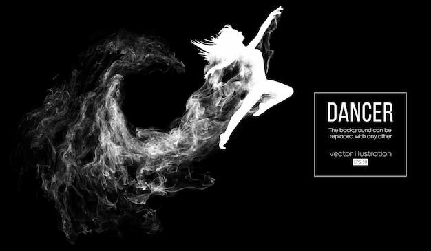 Abstrakte schattenbild eines tanzenden mädchens auf dunklem hintergrund