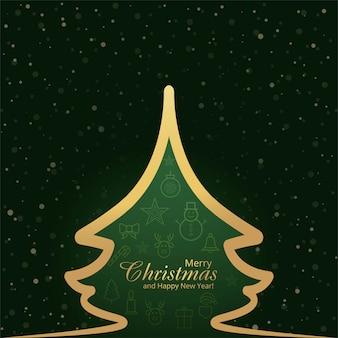 Abstrakte schneeflocke der karte der frohen weihnachten des festivals und baumhintergrundvektor