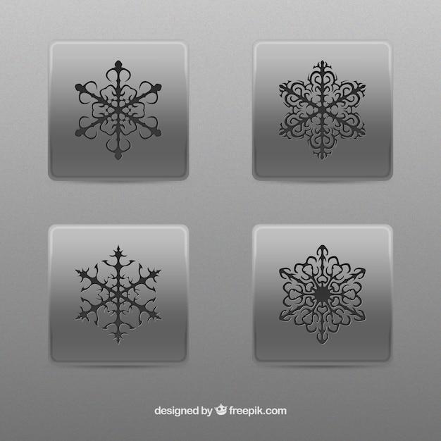 Abstrakte schneeflocken buttons