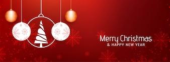 Abstrakte schöne Fahnenschablone der frohen Weihnachten