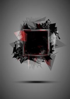Abstrakte schwarze explosion von dreiecken mit einem rahmen