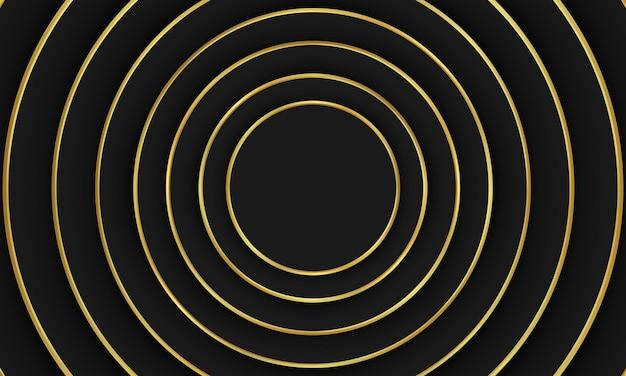 Abstrakte schwarze kreisform des hintergrundes mit goldener linie. elegantes design für ihre tapete.