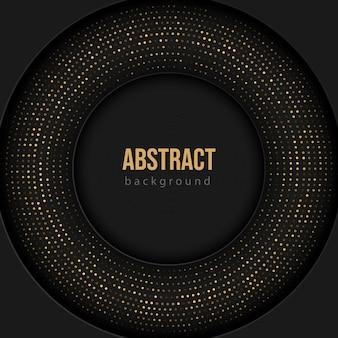 Abstrakte schwarze luxustechnologie 3d mit dem halbton der goldenen punkte auf dunklem hintergrund