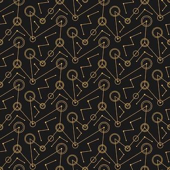 Abstrakte schwarze mechanische kreislinien. nahtloses muster.