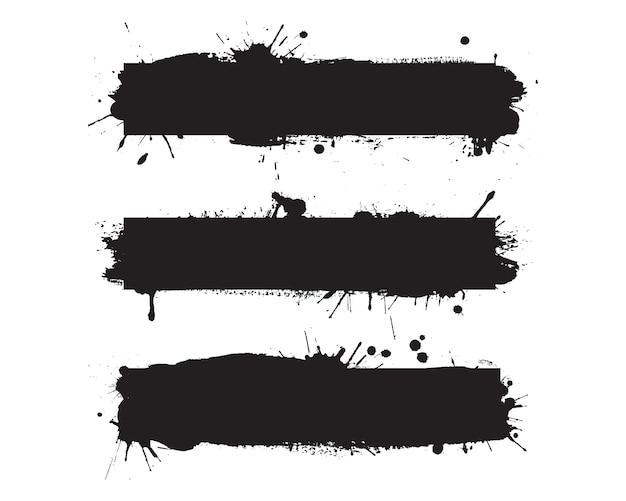 Abstrakte schwarze tinte bespritzt schmutzhintergründe
