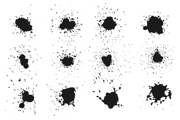 Abstrakte schwarze tintenspritzersammlung