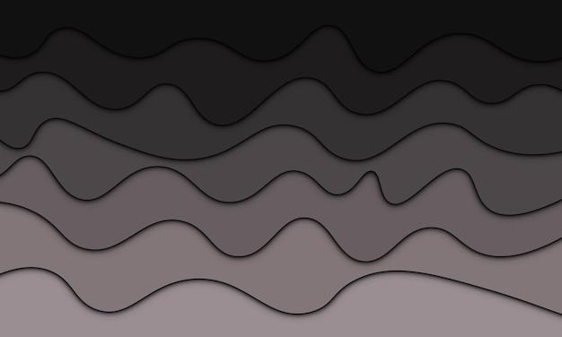 Abstrakte schwarze und graue steigungswelle mit schatten im papierstil