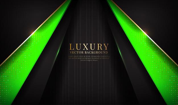 Abstrakte schwarze und grüne luxushintergrundüberlappungsschicht mit goldenem metallischem linieneffekt