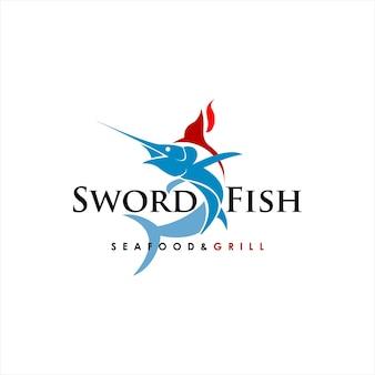 Abstrakte schwertfisch-logo-vektor-meeresfrüchte und grill