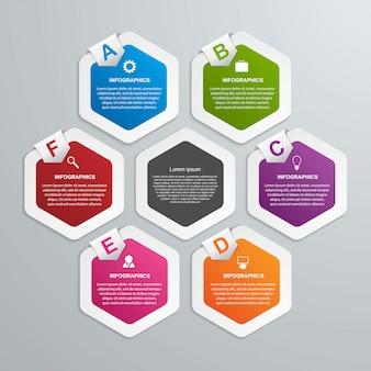 Abstrakte sechseck-infografik-vorlage. Premium Vektoren