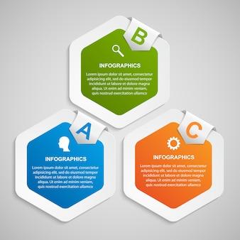 Abstrakte sechseck-infografik-vorlage