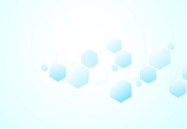 Abstrakte sechseckige molekülstrukturen im technologiehintergrund