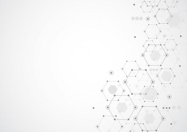 Abstrakte sechseckige molekulare strukturen im technologiehintergrund