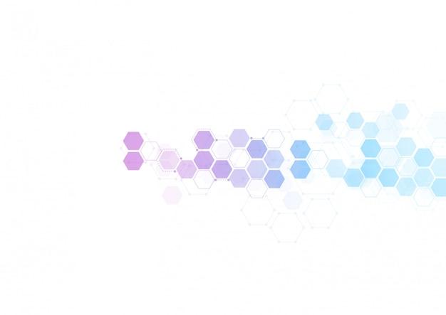 Abstrakte sechseckige molekulare strukturen