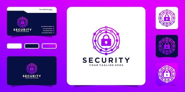 Abstrakte sicherheitsvorhängeschloss-logo-designdaten und visitenkarte
