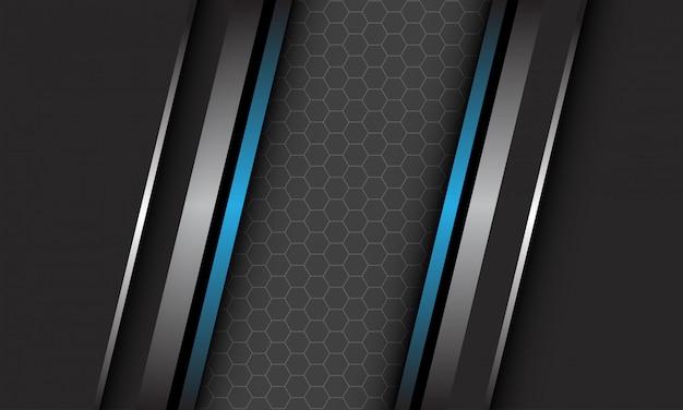 Abstrakte silberblaue metallische linie auf dunkelgrau mit sechseck-netzmuster-leerraumdesign moderner luxus-futuristischer technologiehintergrund Premium Vektoren