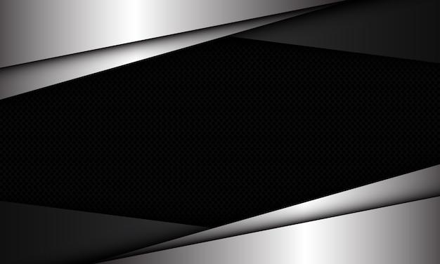 Abstrakte silbergraue dreiecksüberlappung auf dunklem kreisnetzmuster-leerraumdesign moderner futuristischer luxushintergrund.
