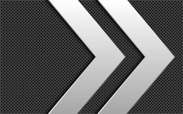 Abstrakte silberne graue kreismasche der doppelpfeilrichtung.