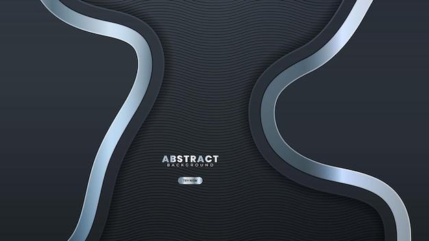 Abstrakte silberne linie banner auf dunkelgrauem metallic-kurven-design moderne futuristische luxus-hintergrund-vektor-illustration