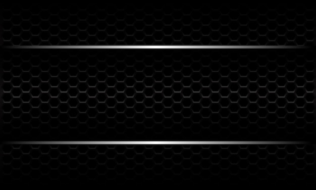 Abstrakte silberne linie banner auf schwarzem sechseck-netzmuster metallic design modernen luxus futuristischen hintergrund.
